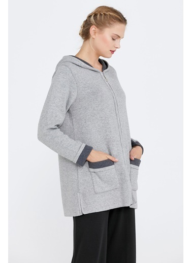 Sementa Cepli Ve Kapüşonlu Kadın Triko Ceket - Açık Gri - Koyu Gri Gri